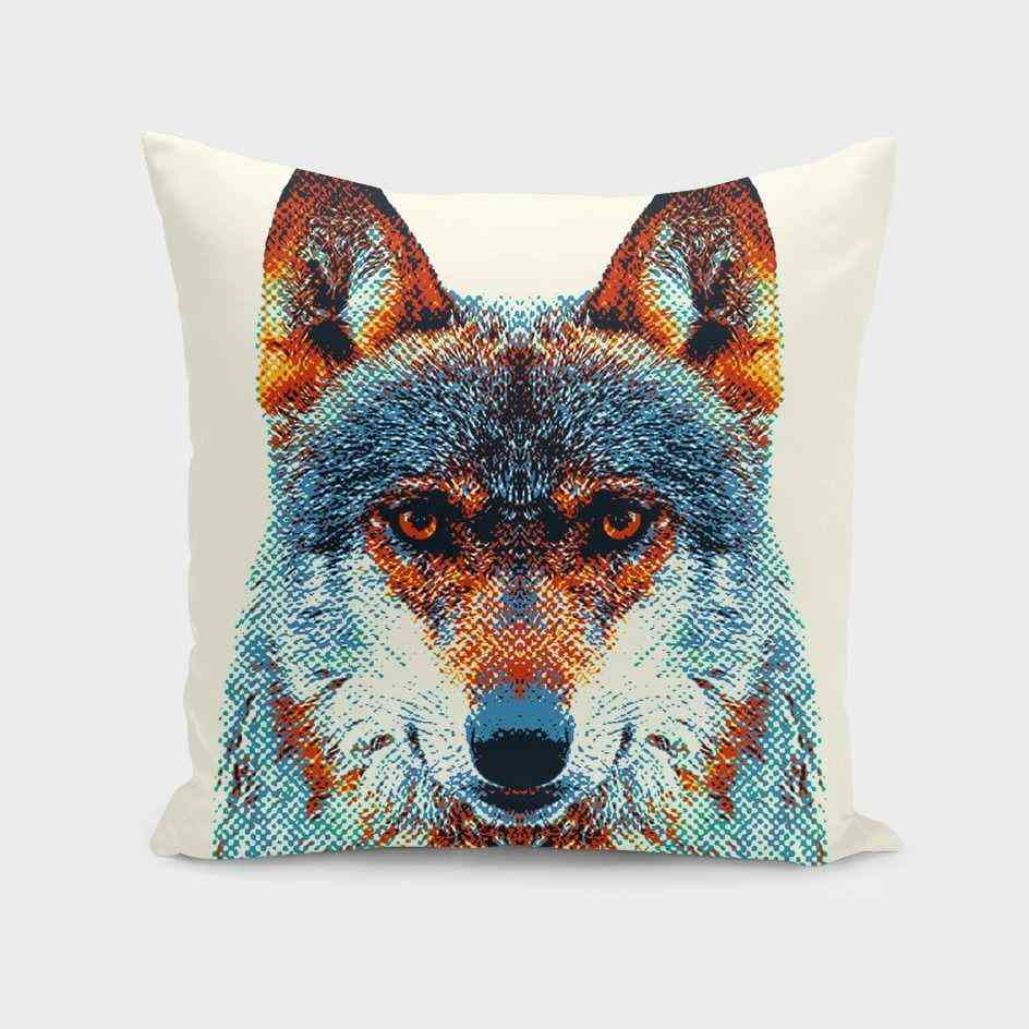 Colorful Wolf Design Pillow