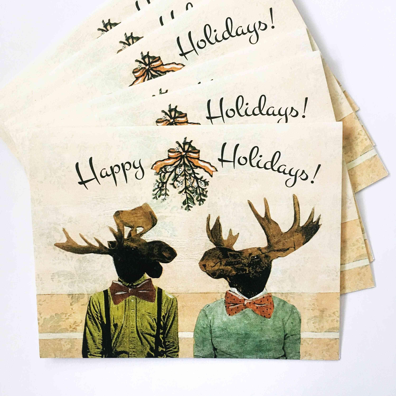 Gay Moose Holiday Card