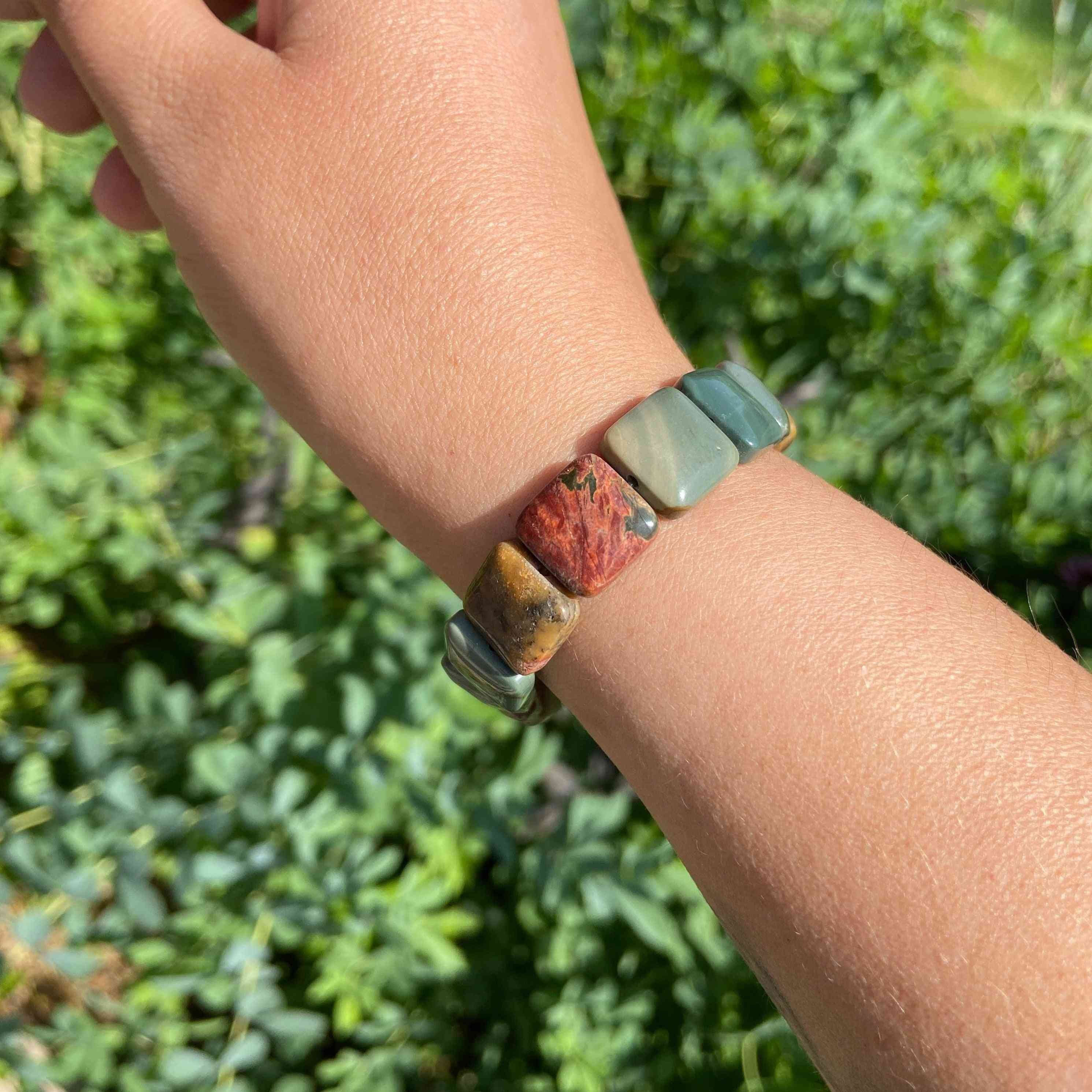 Jasper Square Cut Zinc Alloy Metal Bead Bracelet