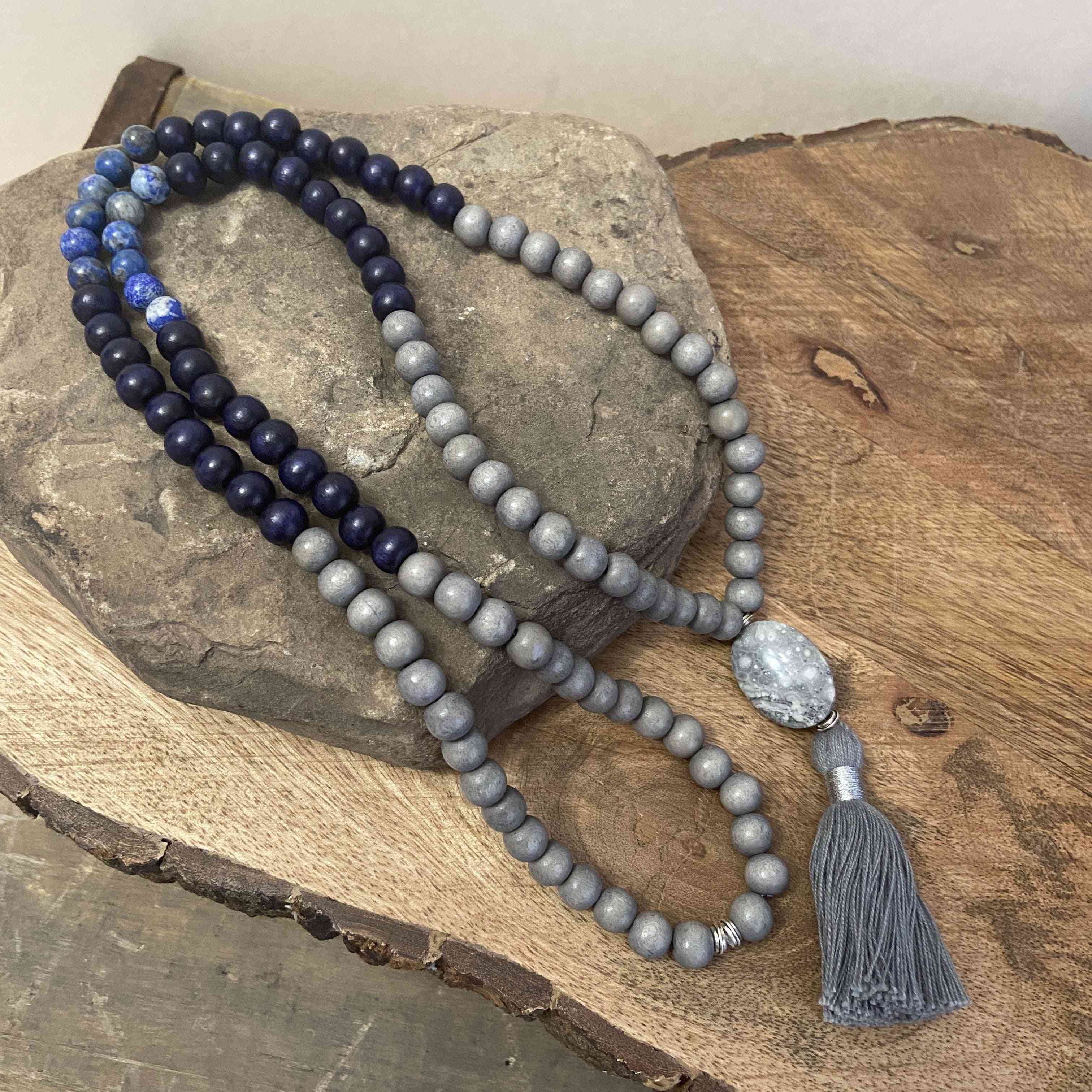 Wooden Beads And Stone Malas