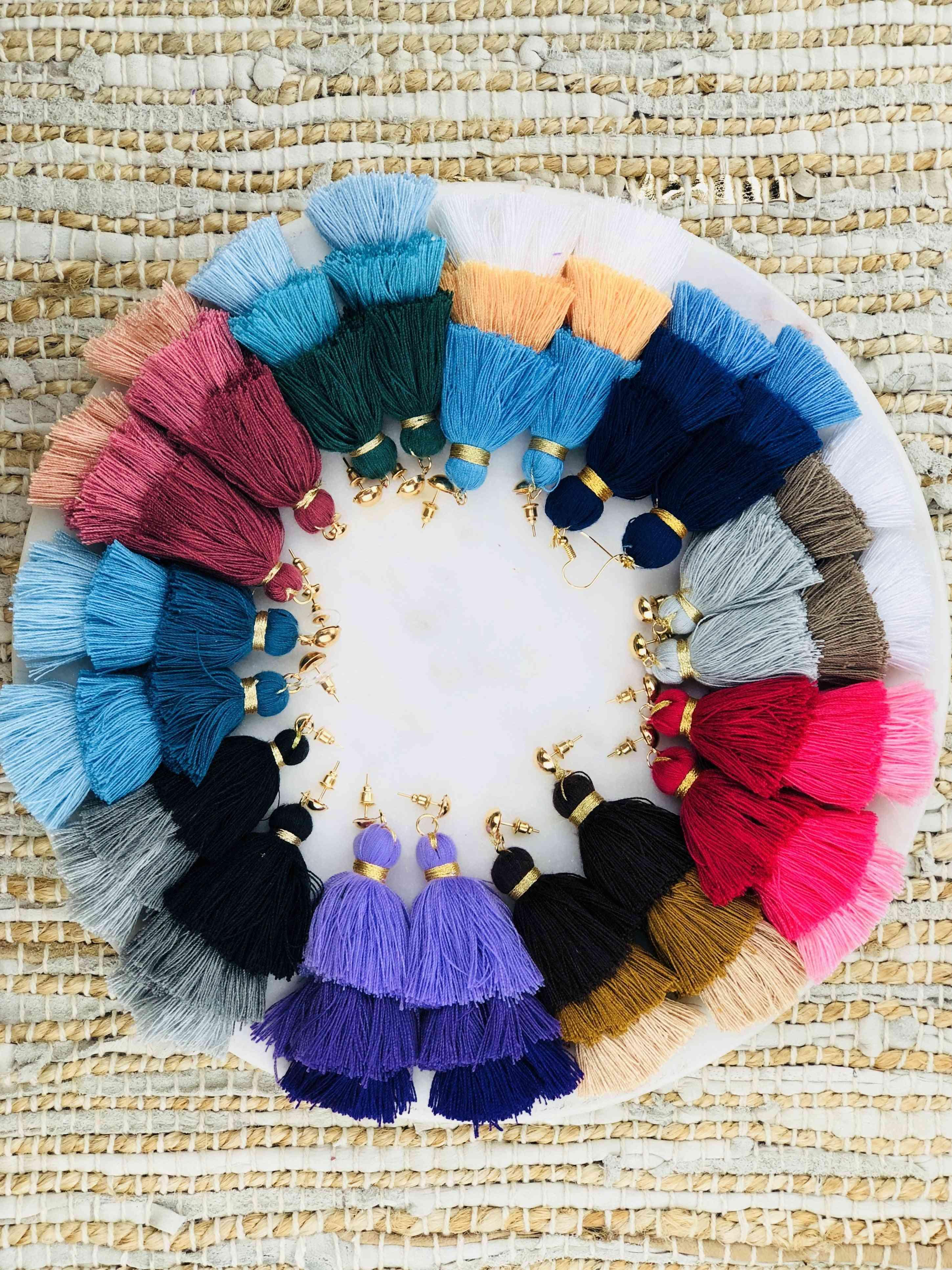 Handmade Three Tier Cotton Tassel Earrings