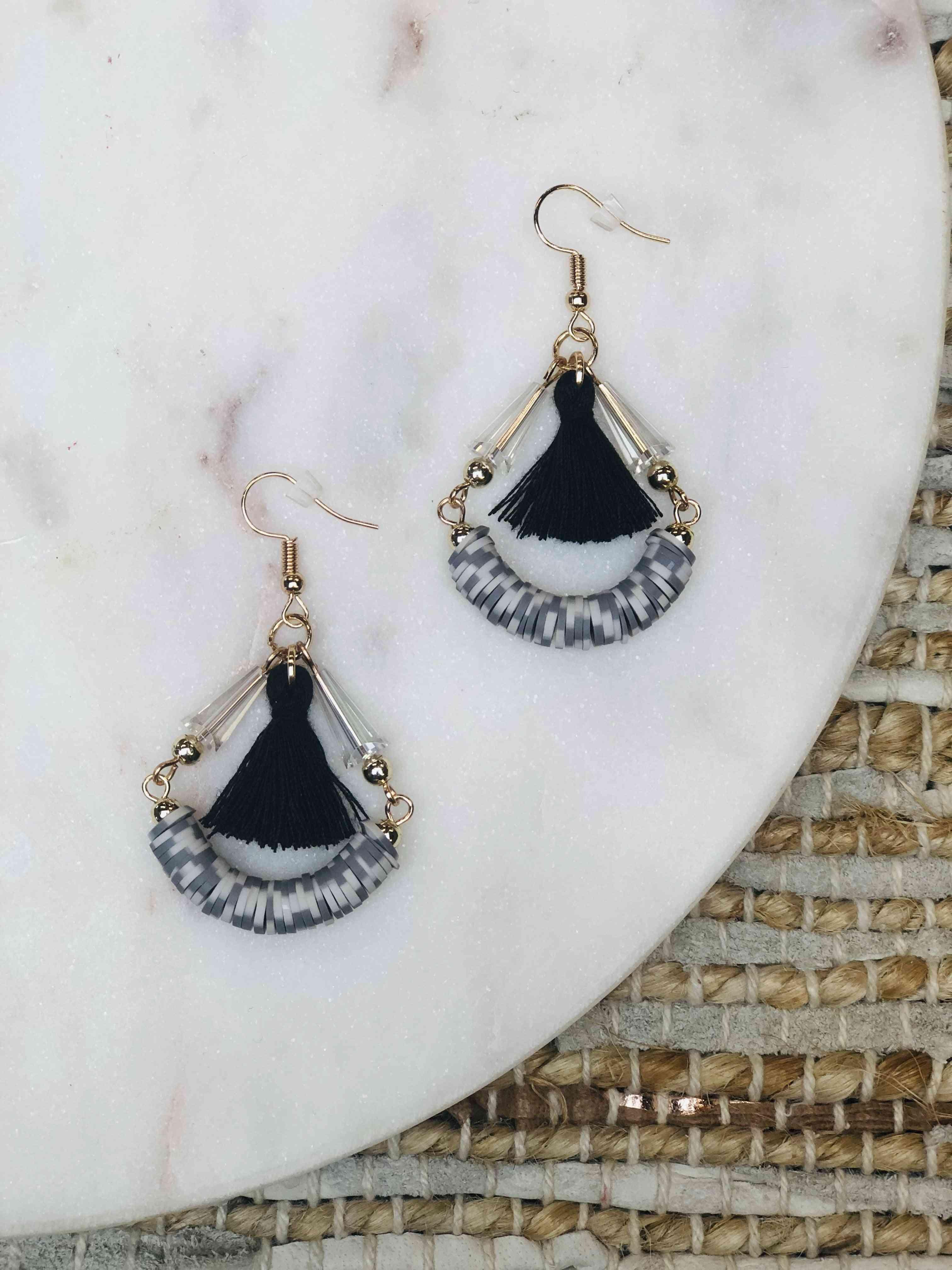 Black & White Hoop Earrings