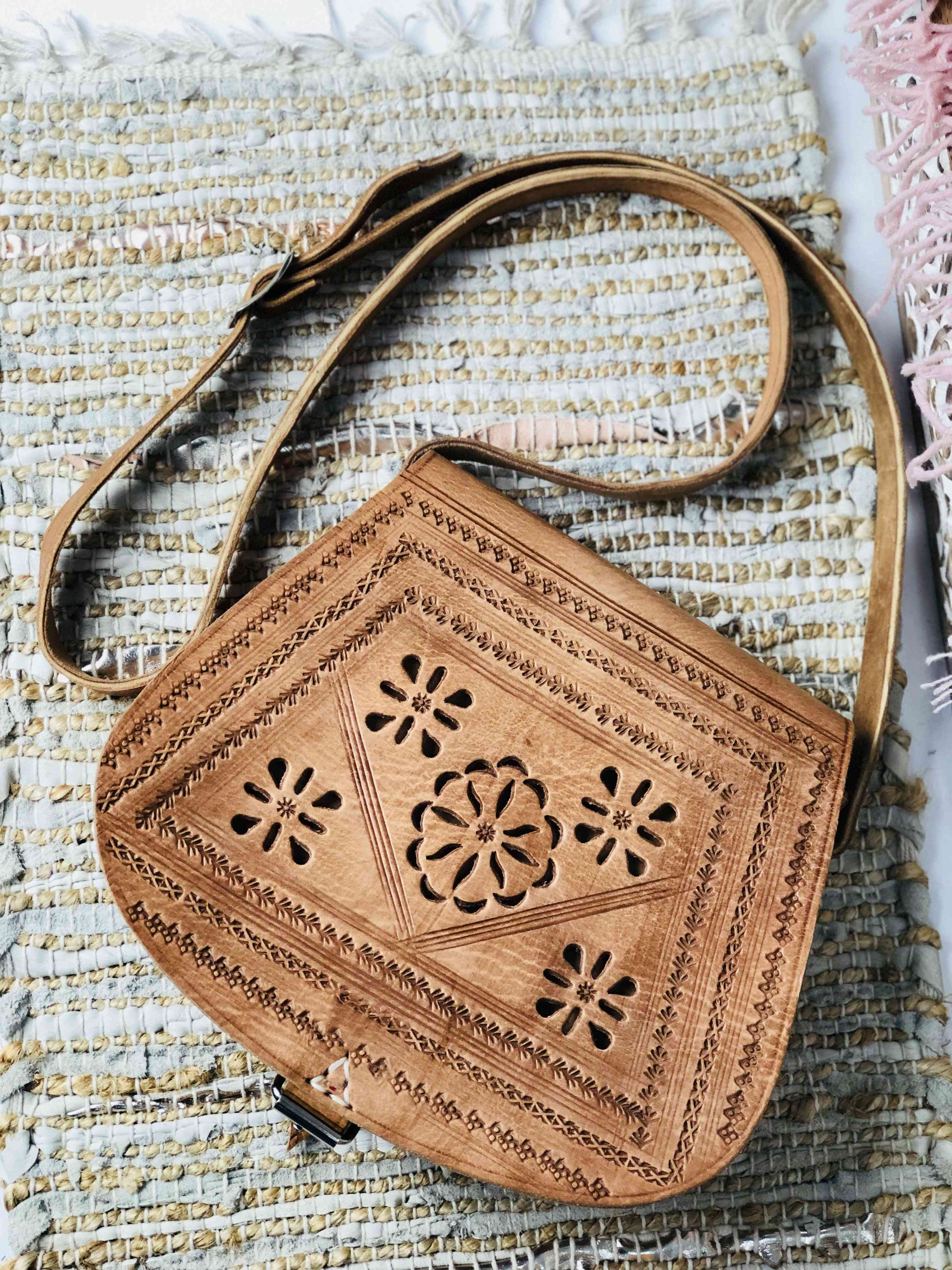 Genuine Leather Crossbody With Embossed And Cut-out Details