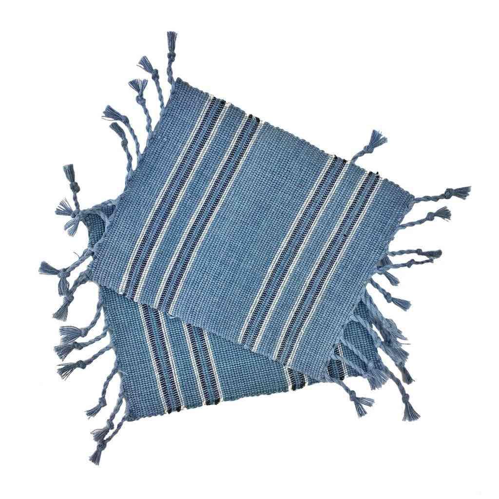 Handwoven Striped Fringe Coasters