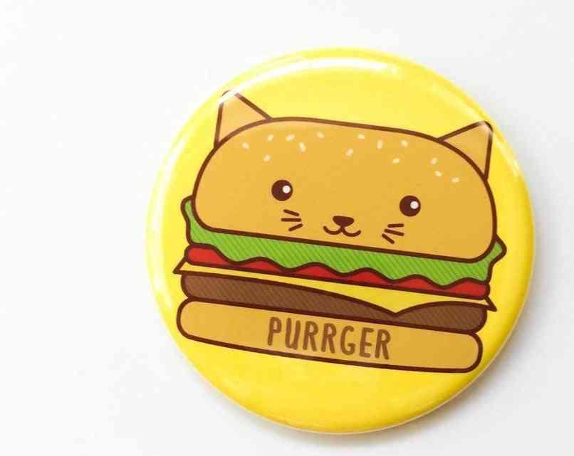 Hamburger Cat Button Pin, Magnet Or Pocket Mirror