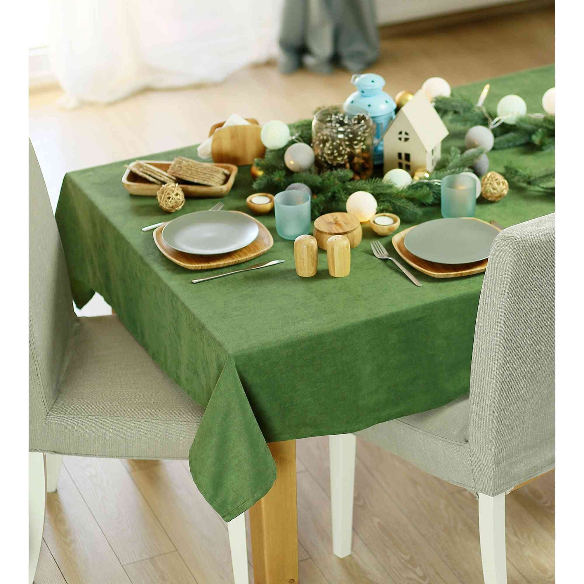 Merry Christmas Solid Green - Decorative Table Cloth