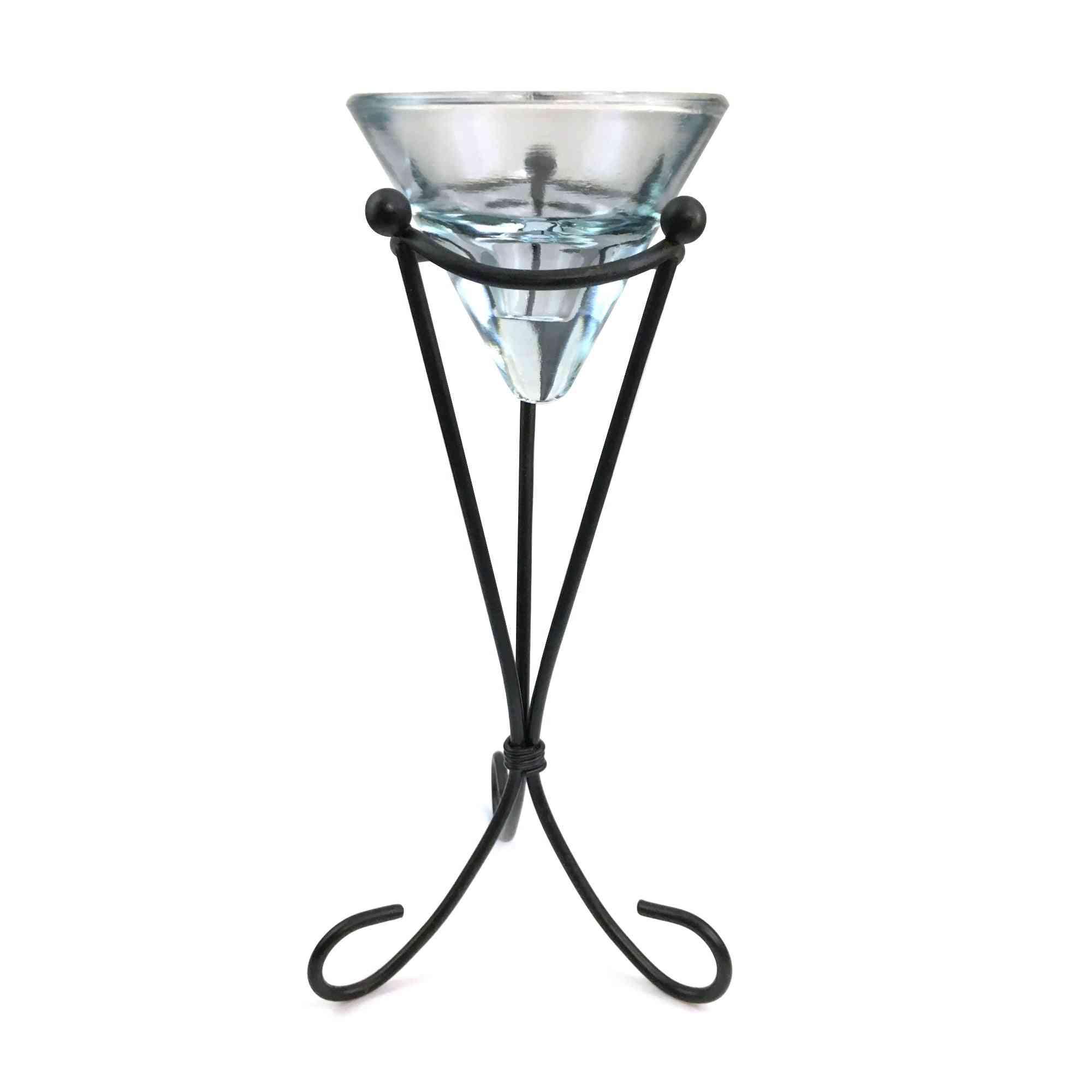 Glass Candle Holder On Metal Pedestal