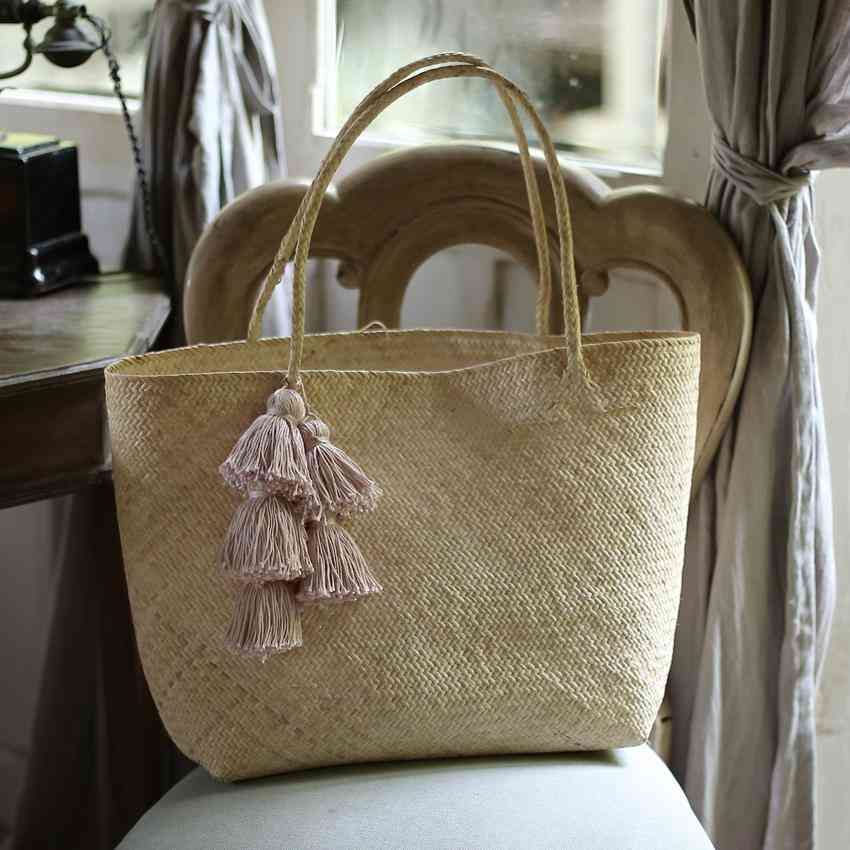 Borneo Sani Straw Tote Bag - With Pale Blush Tassels