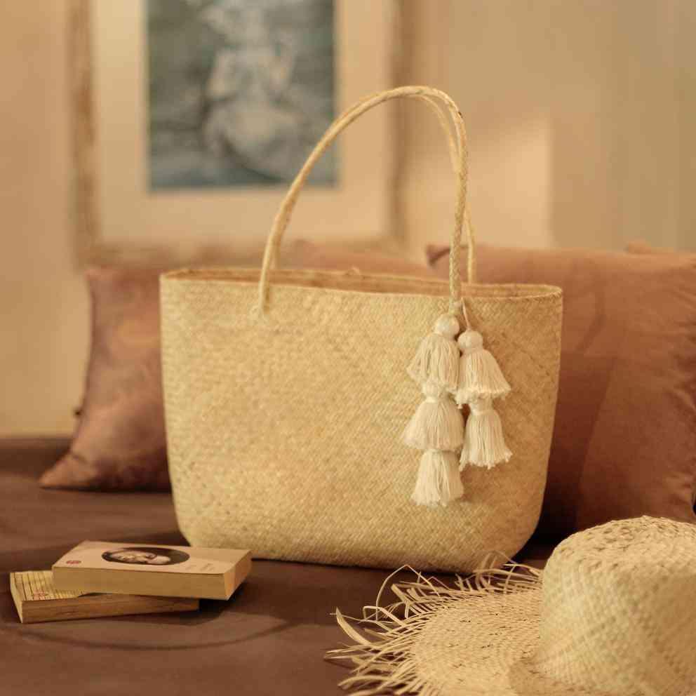 Borneo Sani Straw Tote Bag - With Tassels