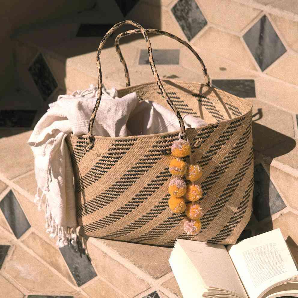Borneo Sani Stripes Straw Tote Bag - With Pom-poms