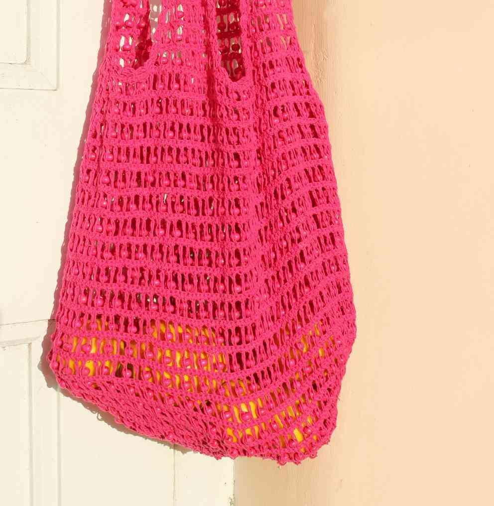 Wooden Beads, Handle Drop, Crochet Bag