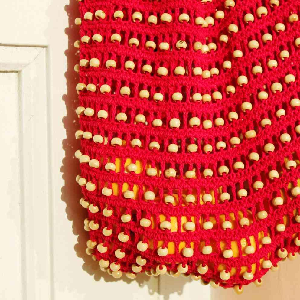Wooden Crochet Beads Carry Bag