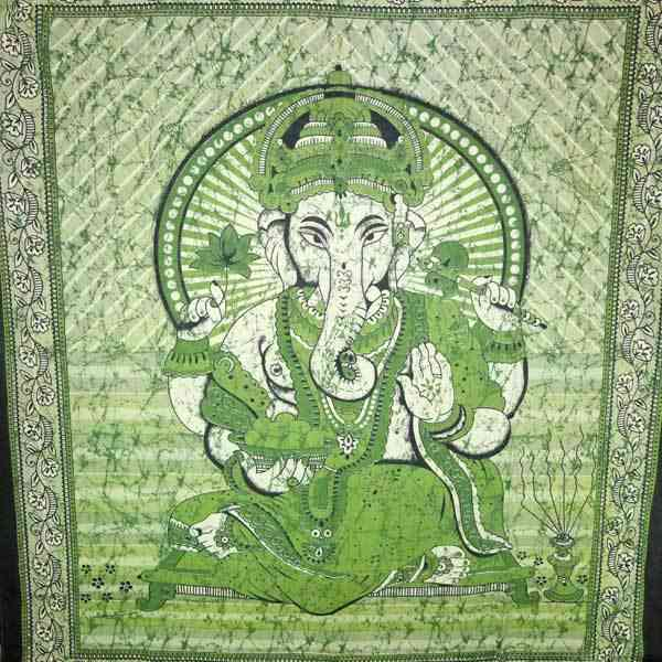 Green Ganesha Holding Lotus Flower-tie-dye Tapestry