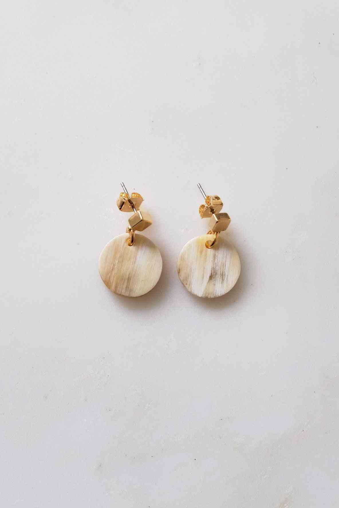 Buffalo Horn Stud Dangle Earrings