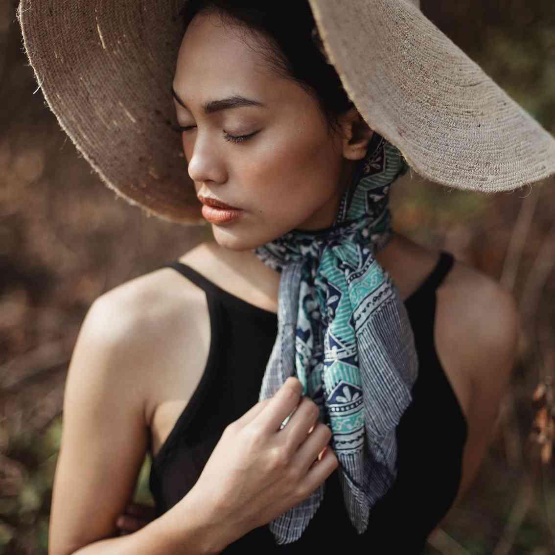 Flower Pattern Silk Batik Scarf