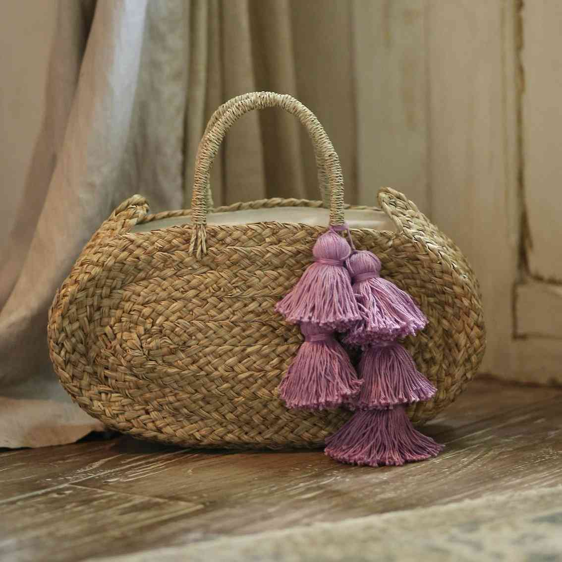 Oval Shaped, Woven Beach Straw Tote Bag With Lavender Tassels