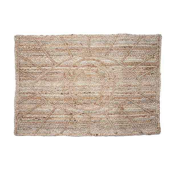Hand-braided Bohemian Eye Design Jute Doormat