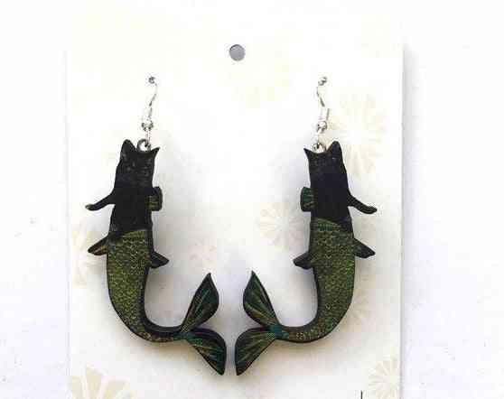 Black Cat Mermaid Earrings