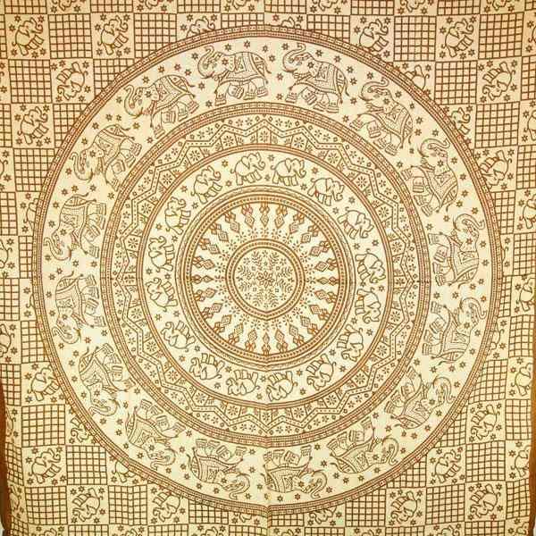 Brown Baby Elephant Mandala Tapestry