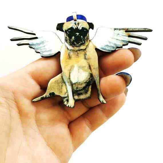 Angel Pug Christmas Ornament