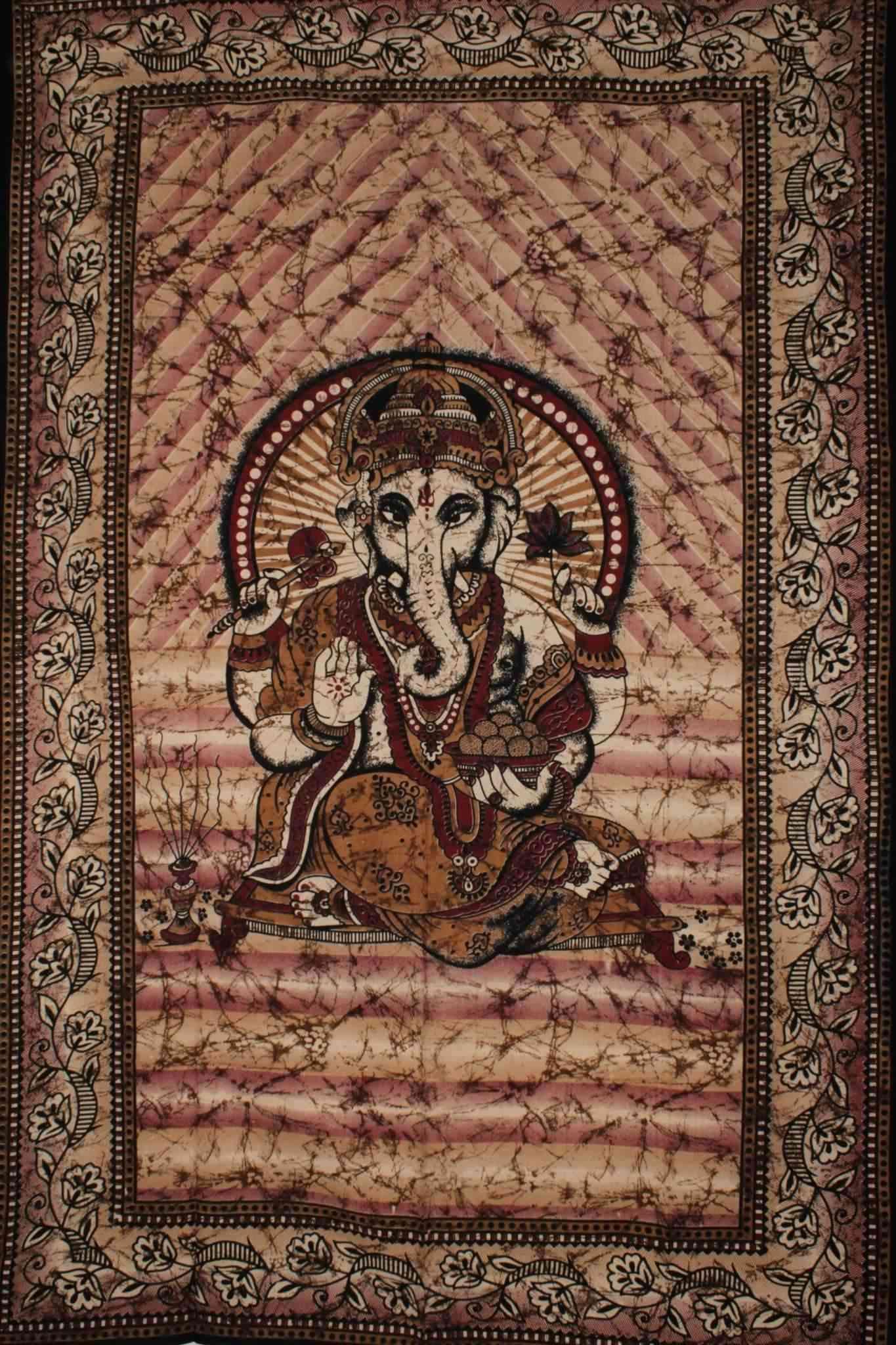 Ganesha Holding Lotus Flower Tapestry