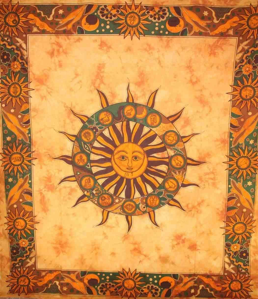 Sun Chakra With Twelve Signs Tapestry