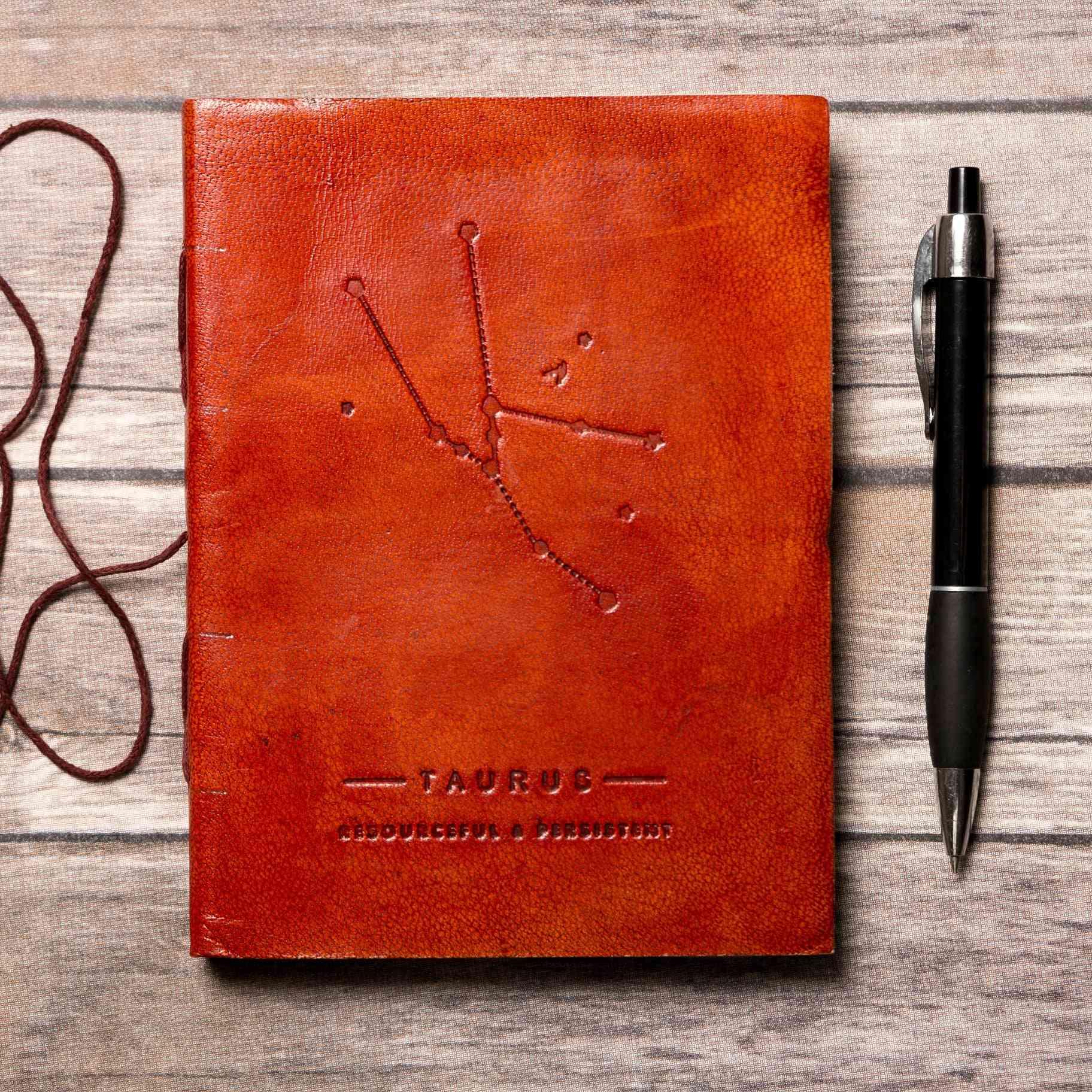 Taurus Zodiac Symbol Embossed Genuine Leather Journal