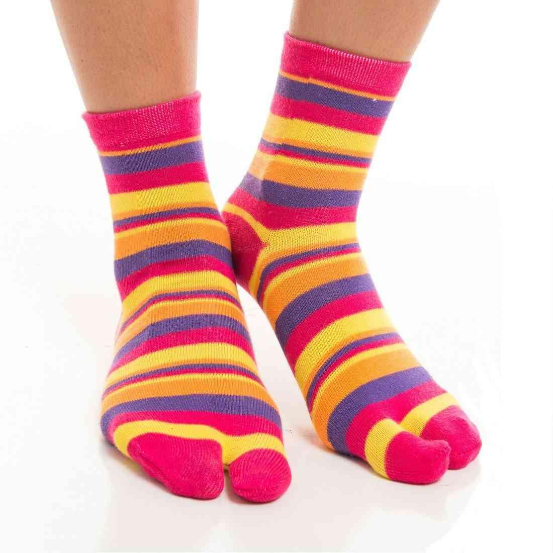 Flip Flop Socks - Pink, Yellow Striped