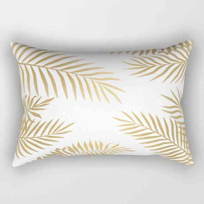 Leaf Print Rectangle Pillow