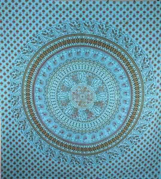 Elephants & Birds Mandala Style Tapestry