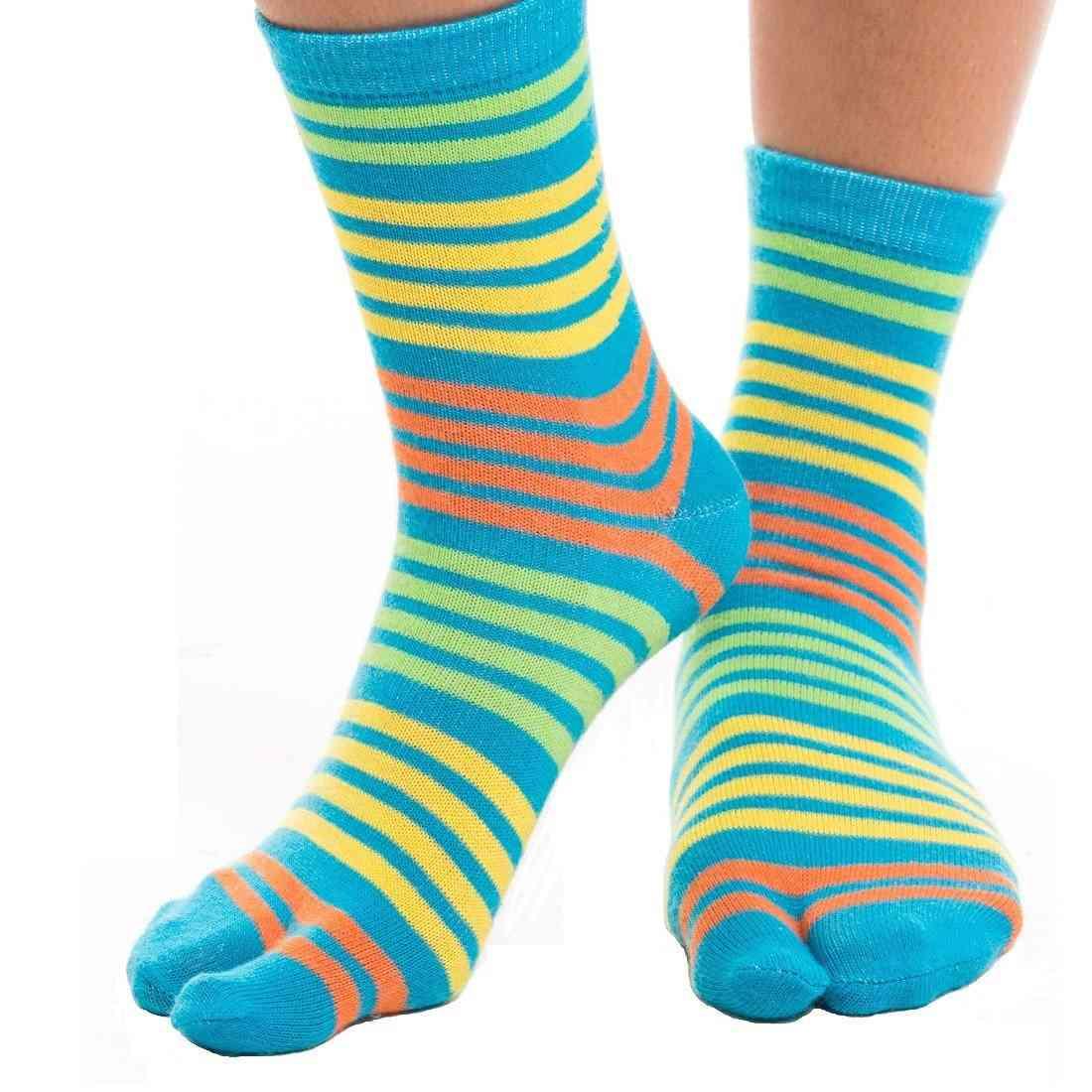 Flip Flop Tabi Socks - Blue, Yellow Striped-1 Pair