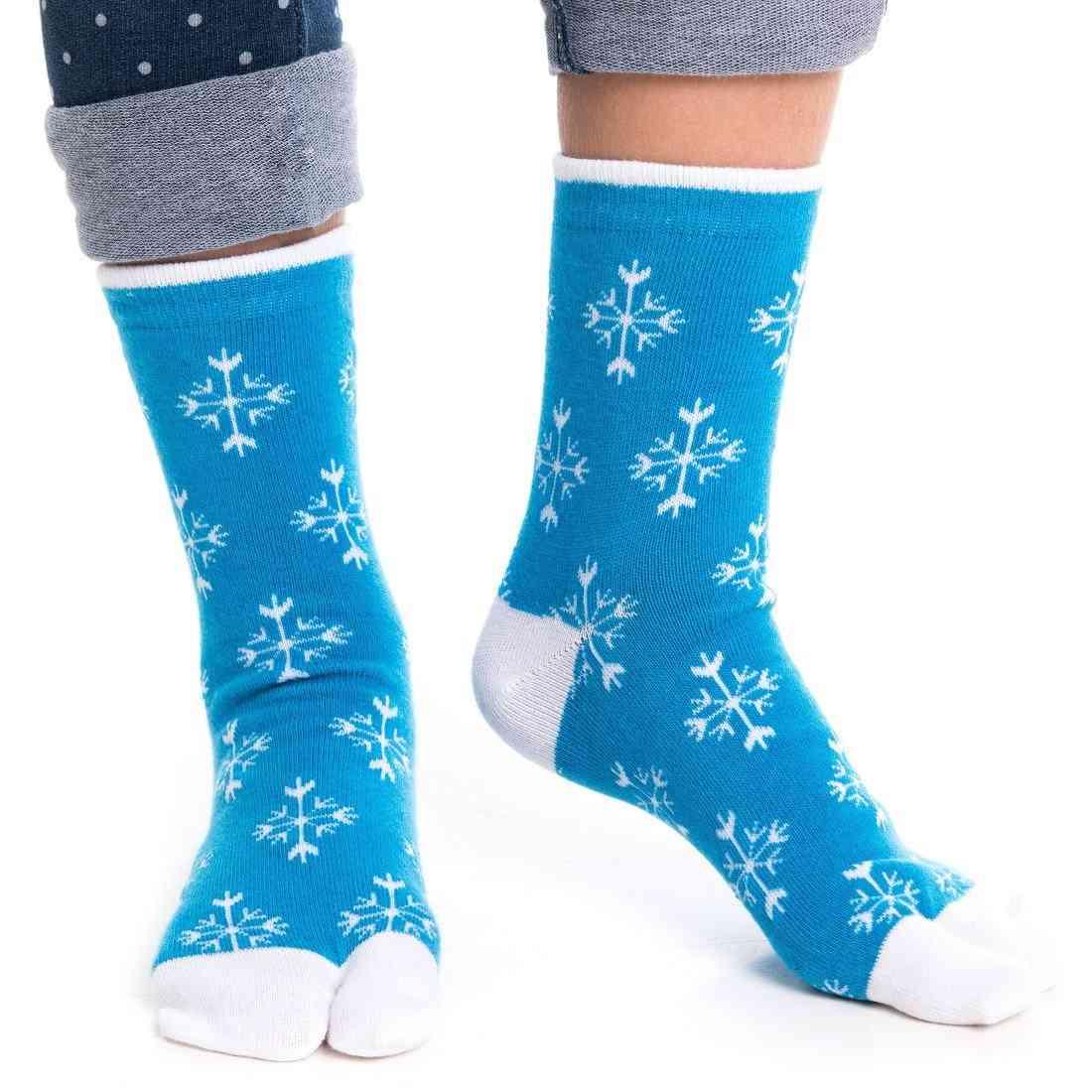 Blue Snowflake Pattern Flip Flop Tabi Socks