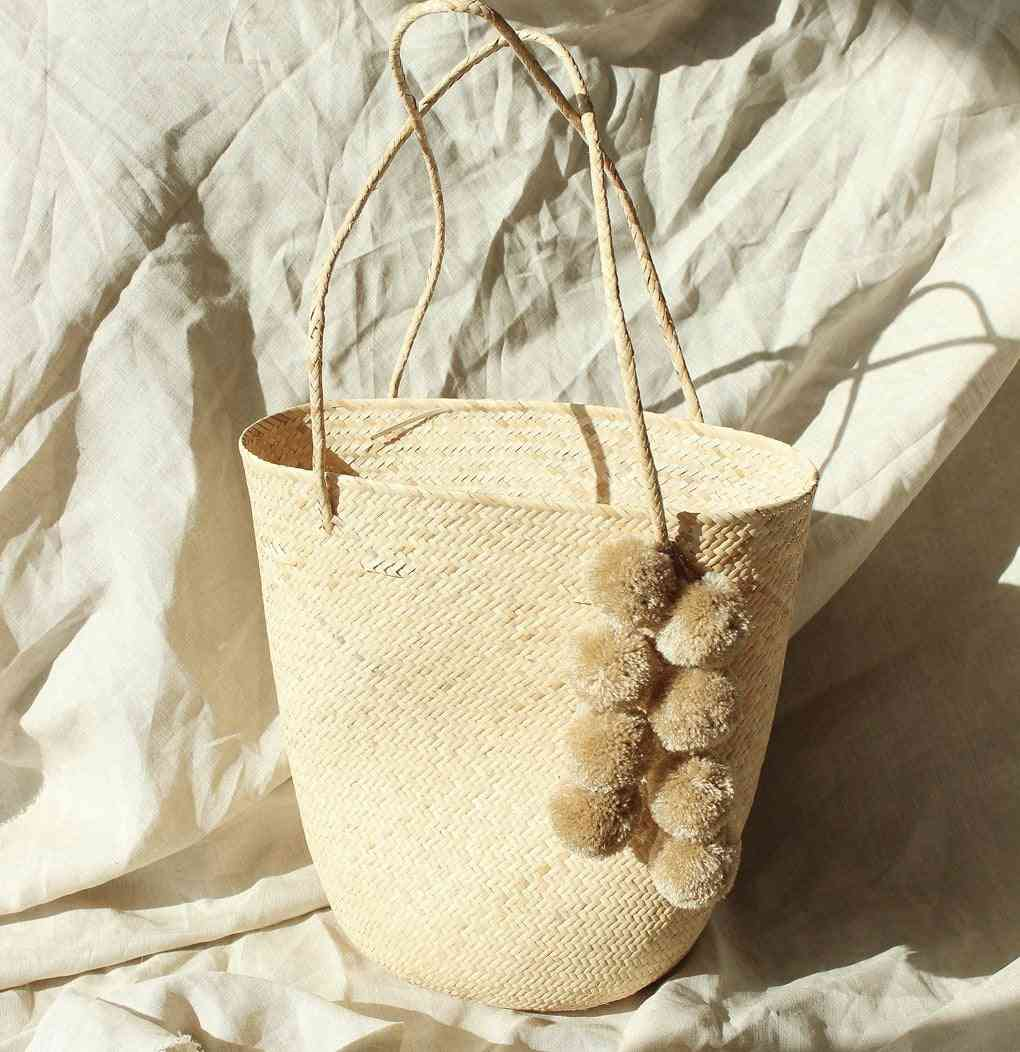 Handcrafted Tote Bag With Nude Beige Pom-poms