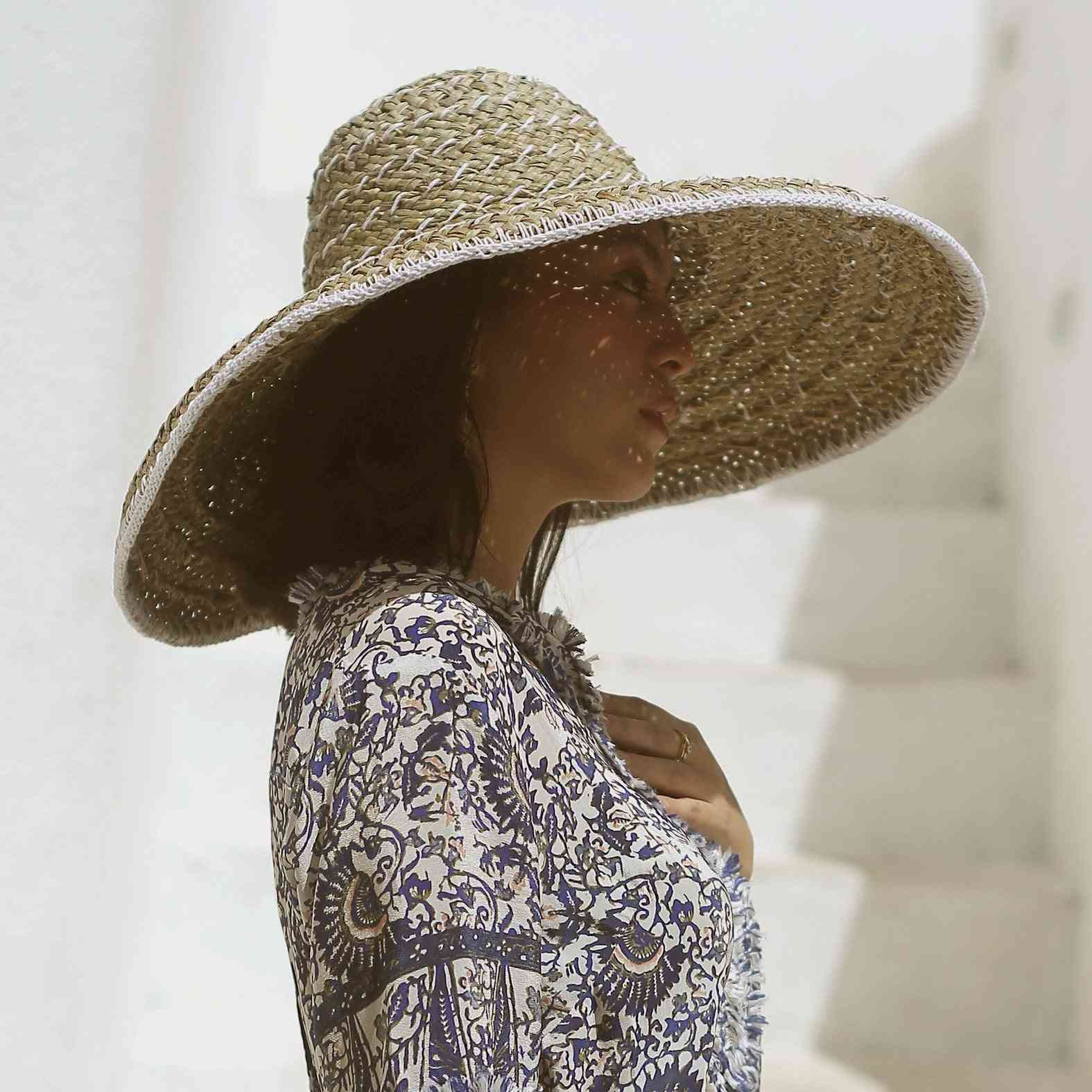 Wide Round  Mendong Straw Hat