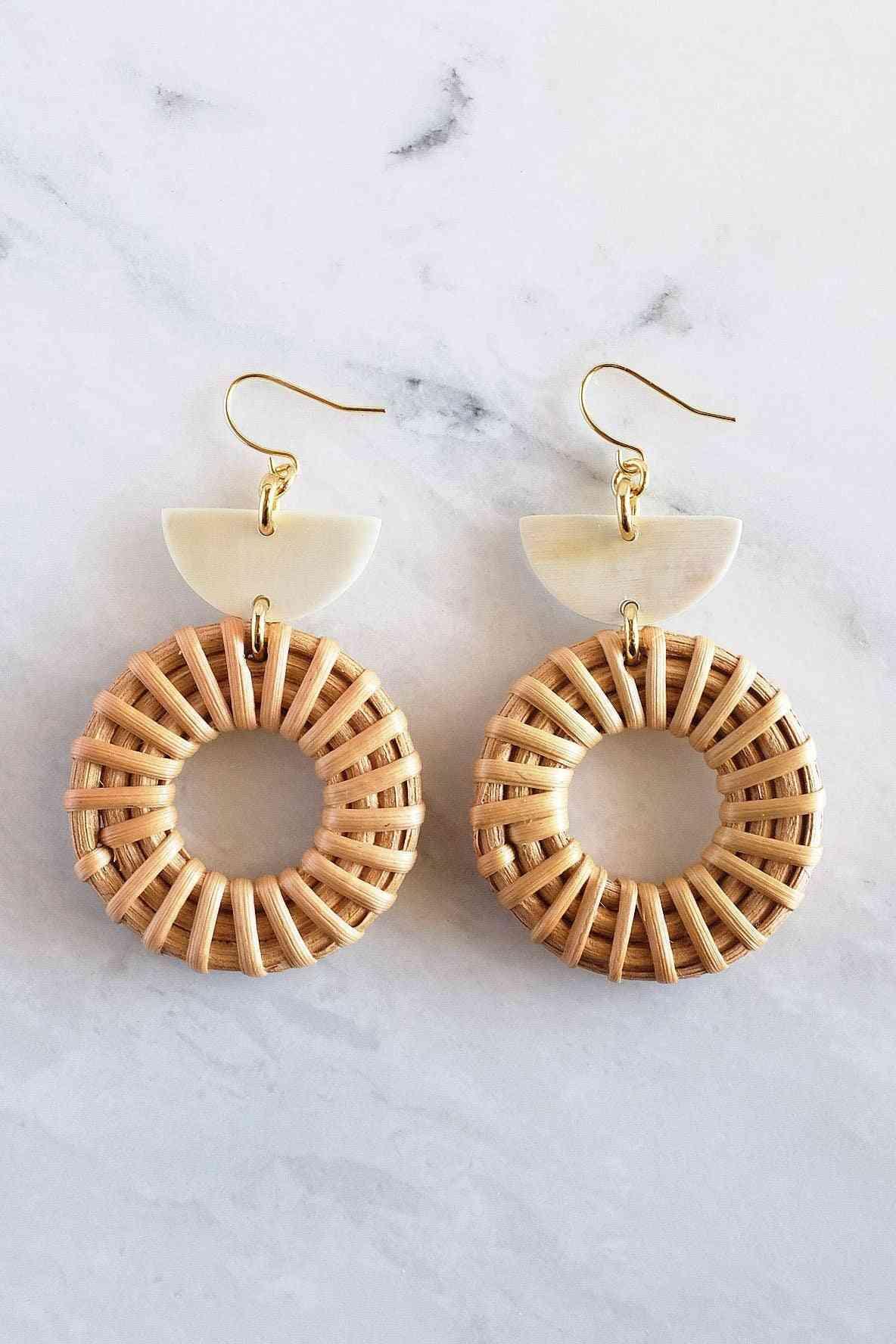 16k Gold Plated Horn & Rattan Donut Earrings