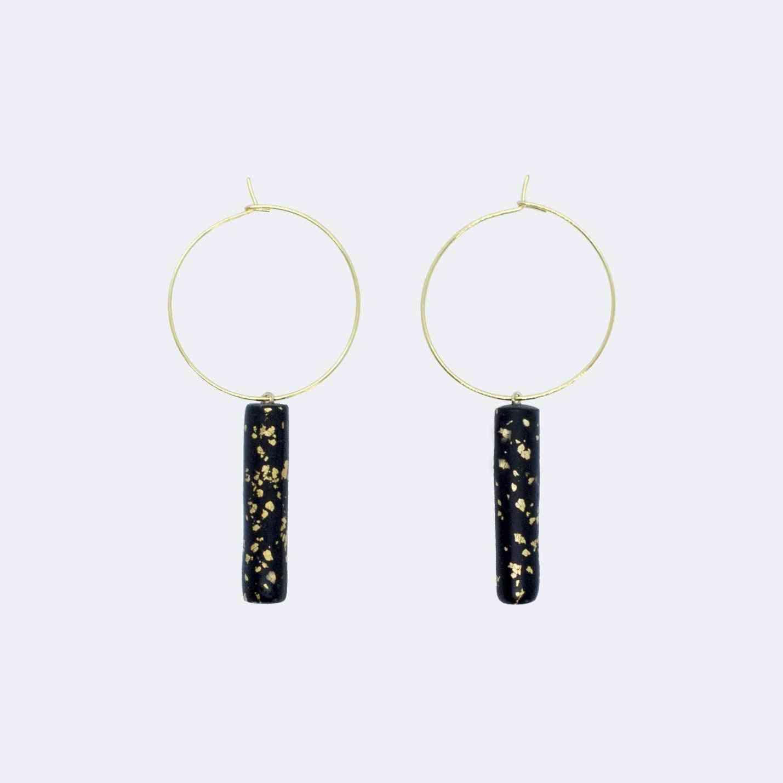 Bar Pendant, Hoop Earrings
