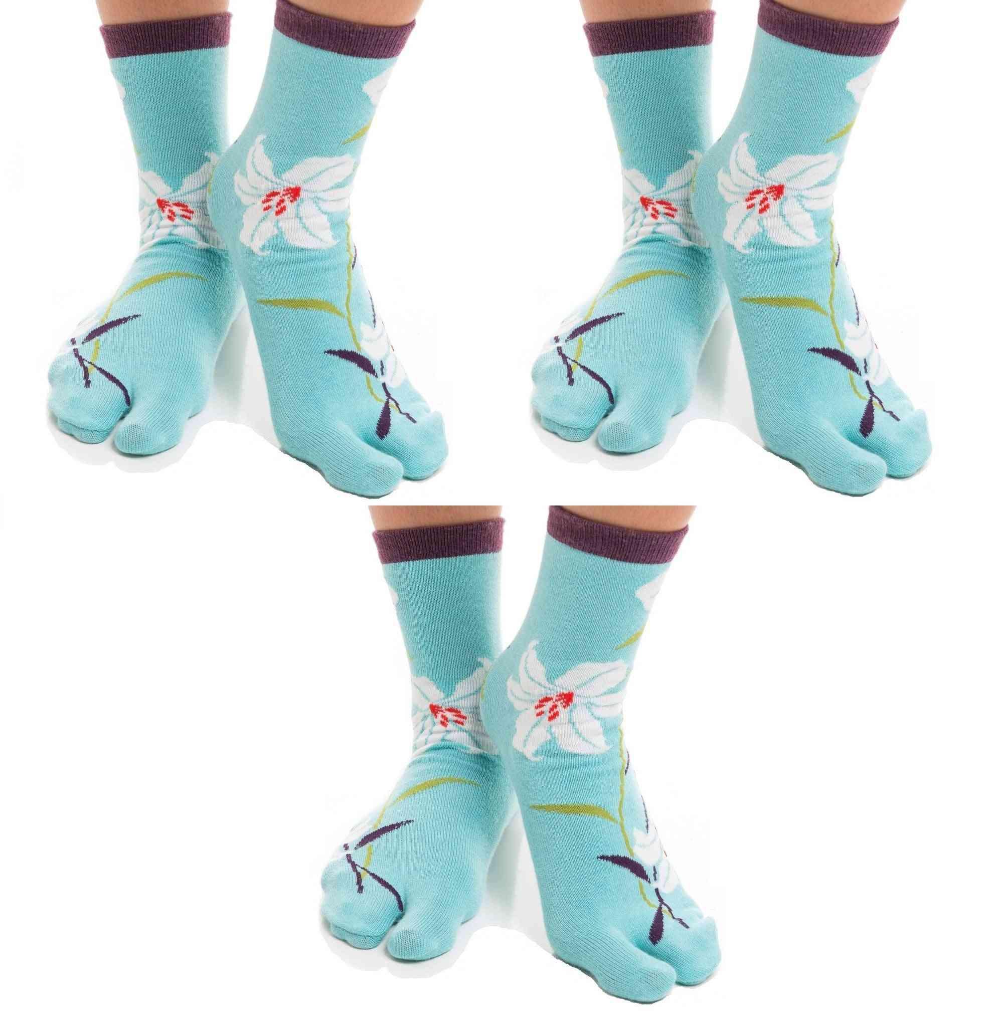 Flip Flop Tabi Socks Hawaiian Flower-3 Pairs