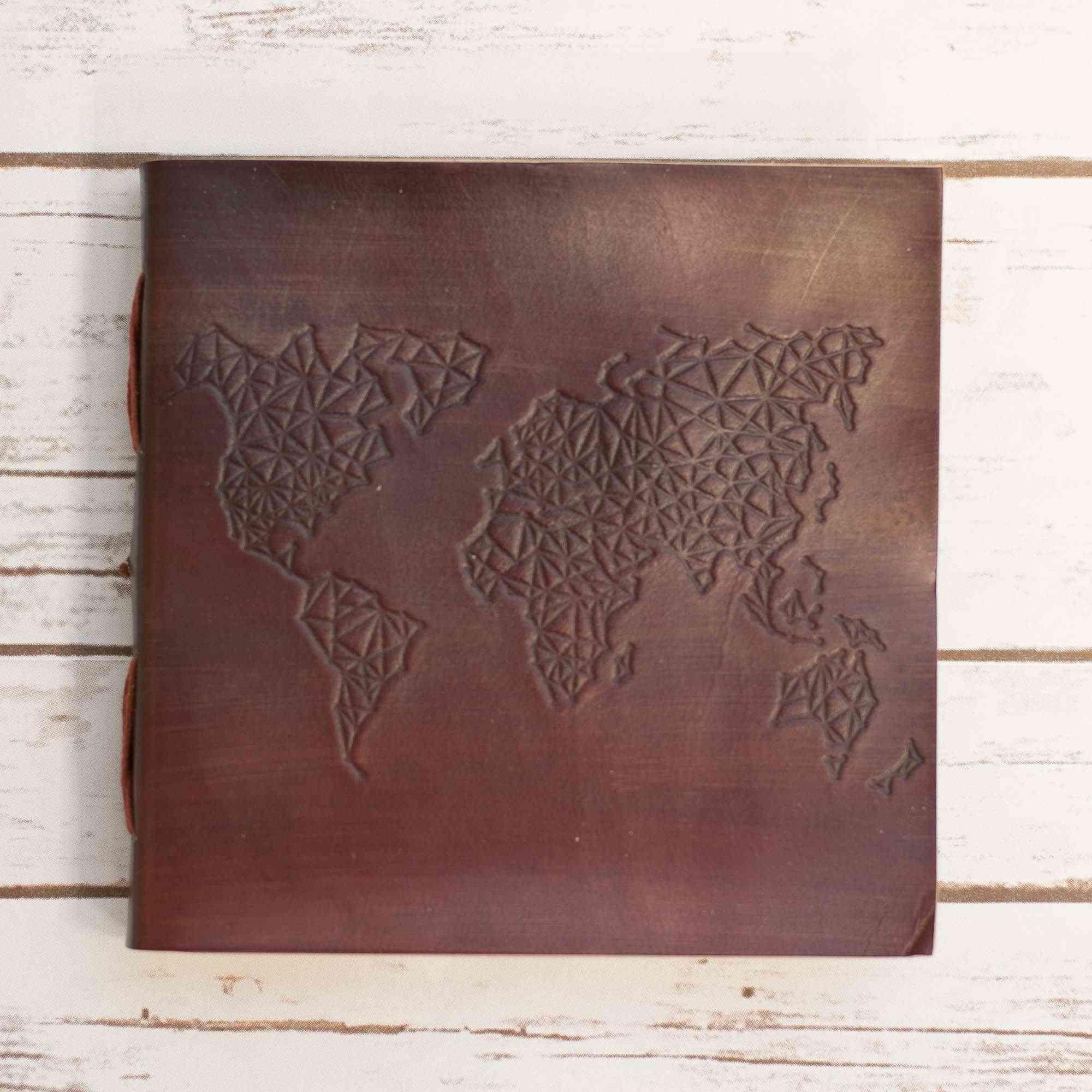 World Map Design Square Handmade Leather Journal