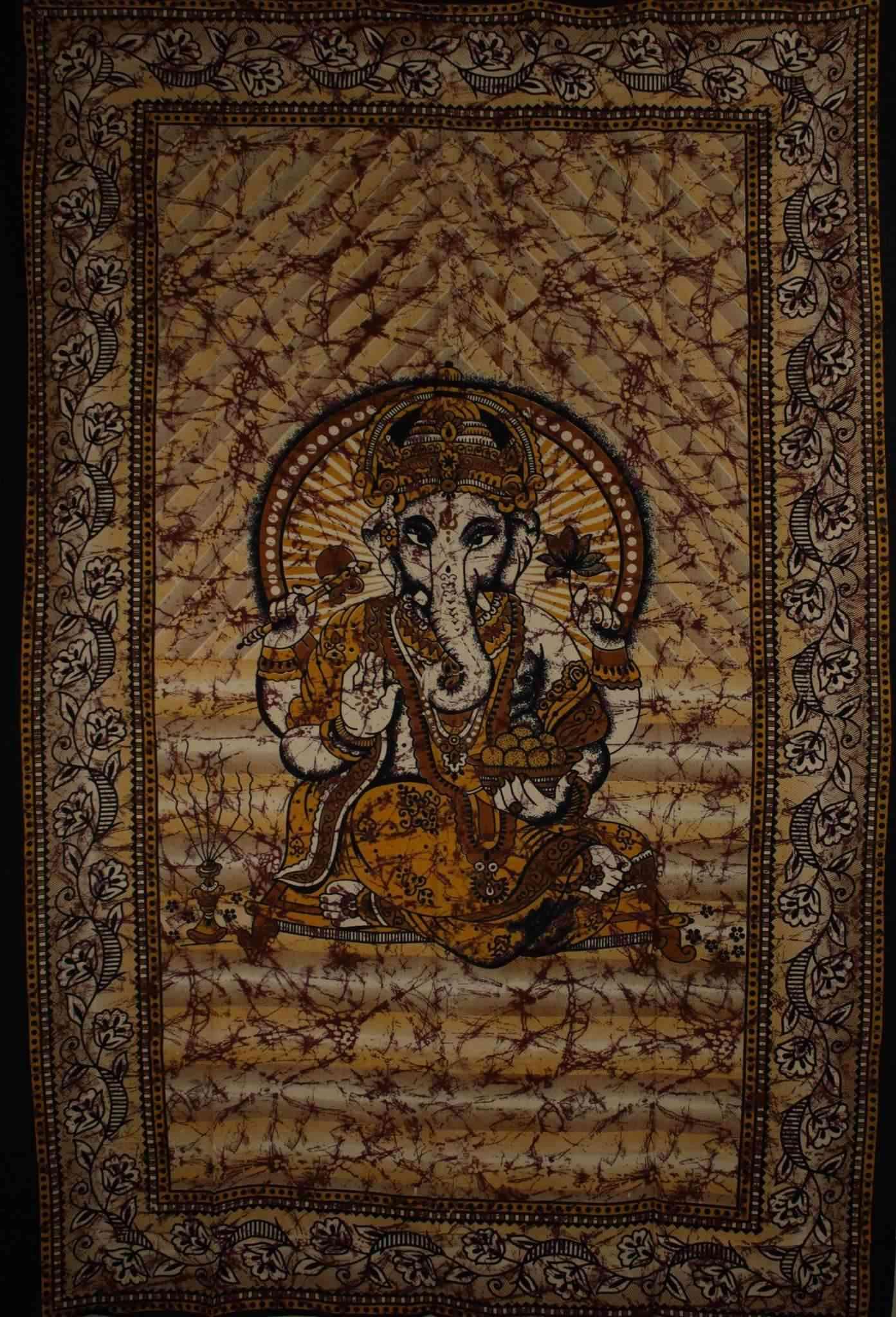 Ganesha Holding Lotus Flower In Batik Style Tie Dye Tapestry
