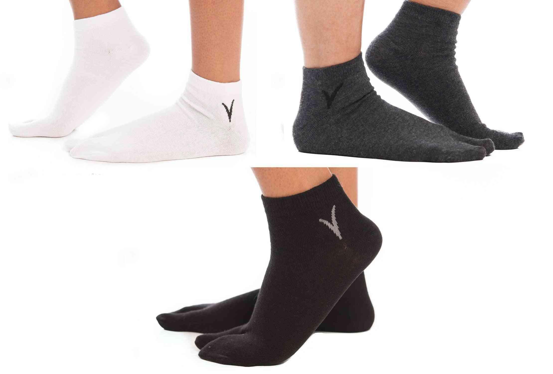 Flip Flop Tabi Big Toe Socks - White, Gunmetal Grey, Black Ankle -3 Pairs