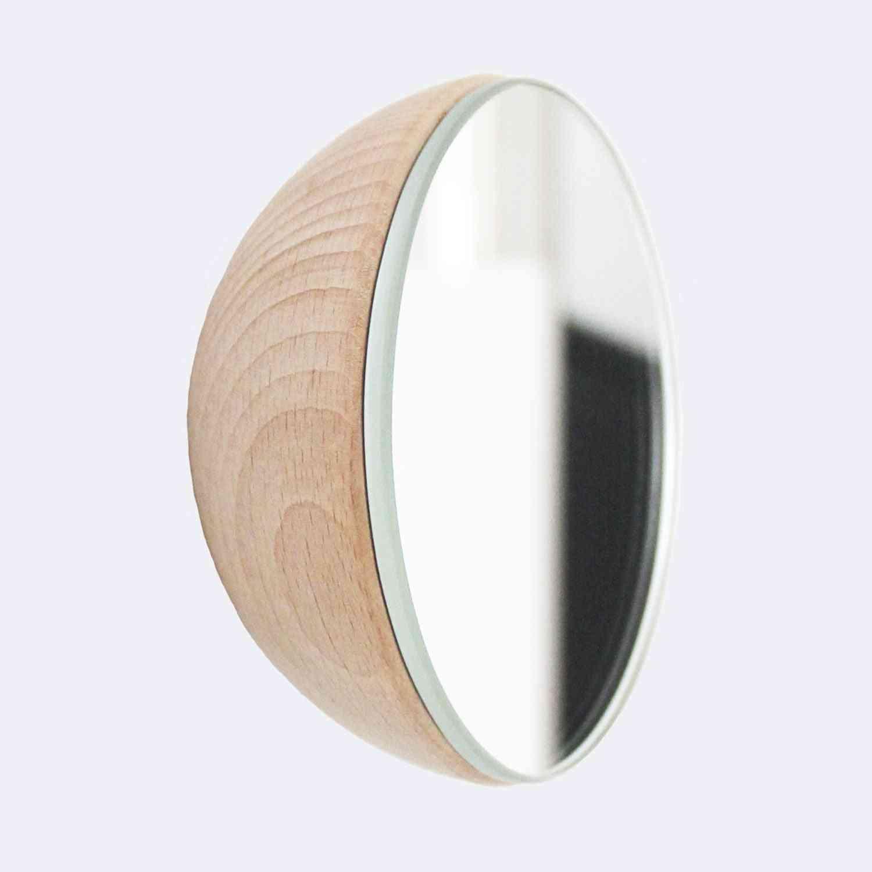 Round Beech Wood Wall Mounted Mirror Coat Hook