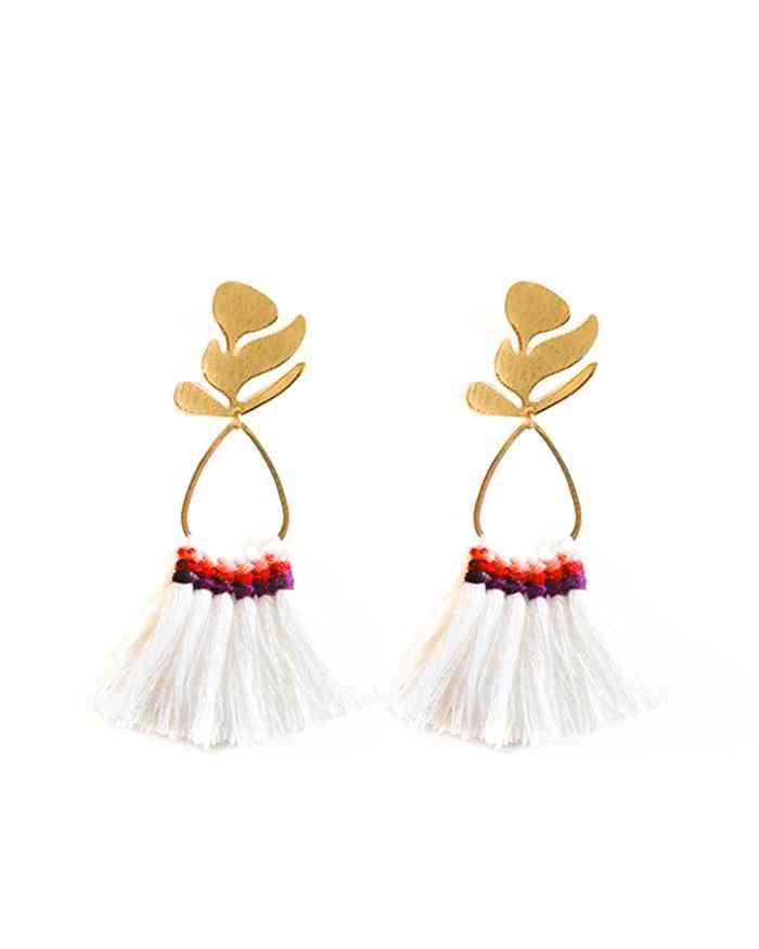 Gold Leaf Snow White Earrings