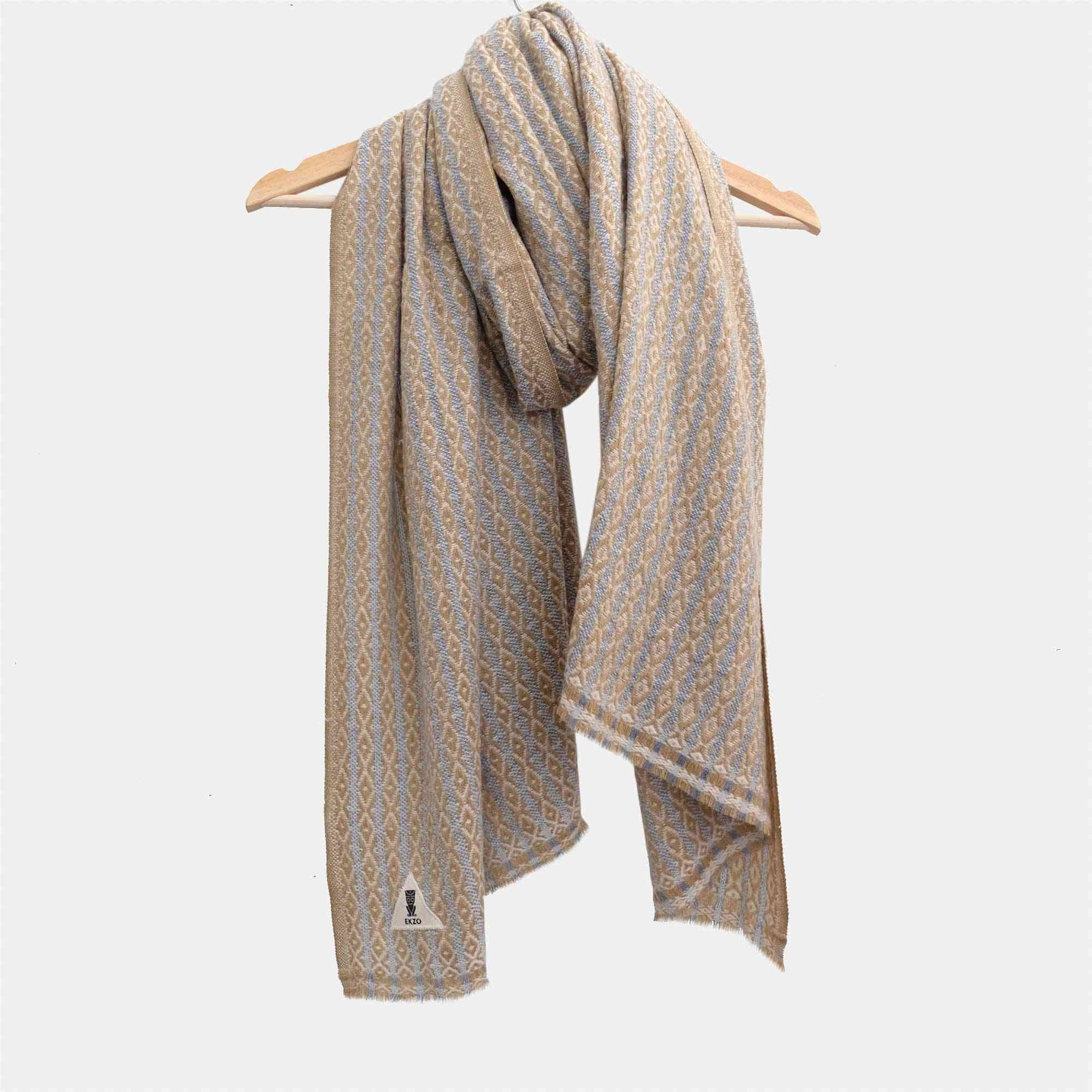 Hand Sewn Cotton Patch Wrap Scarf - Champagne