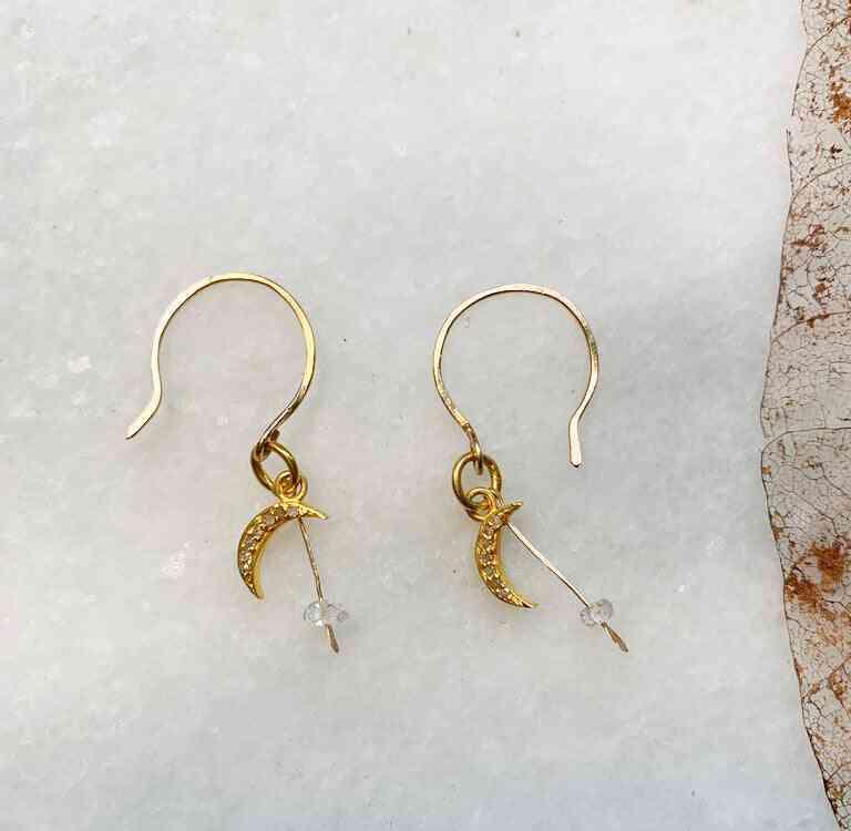 Diamond Moon With Herkimer Bead Earrings