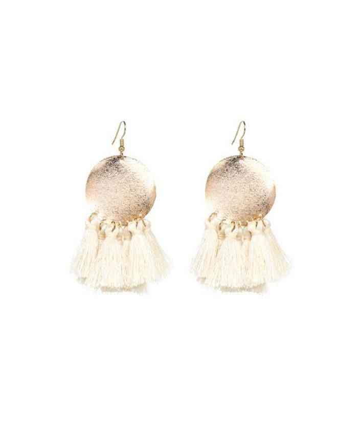 Off White Tassel Earrings