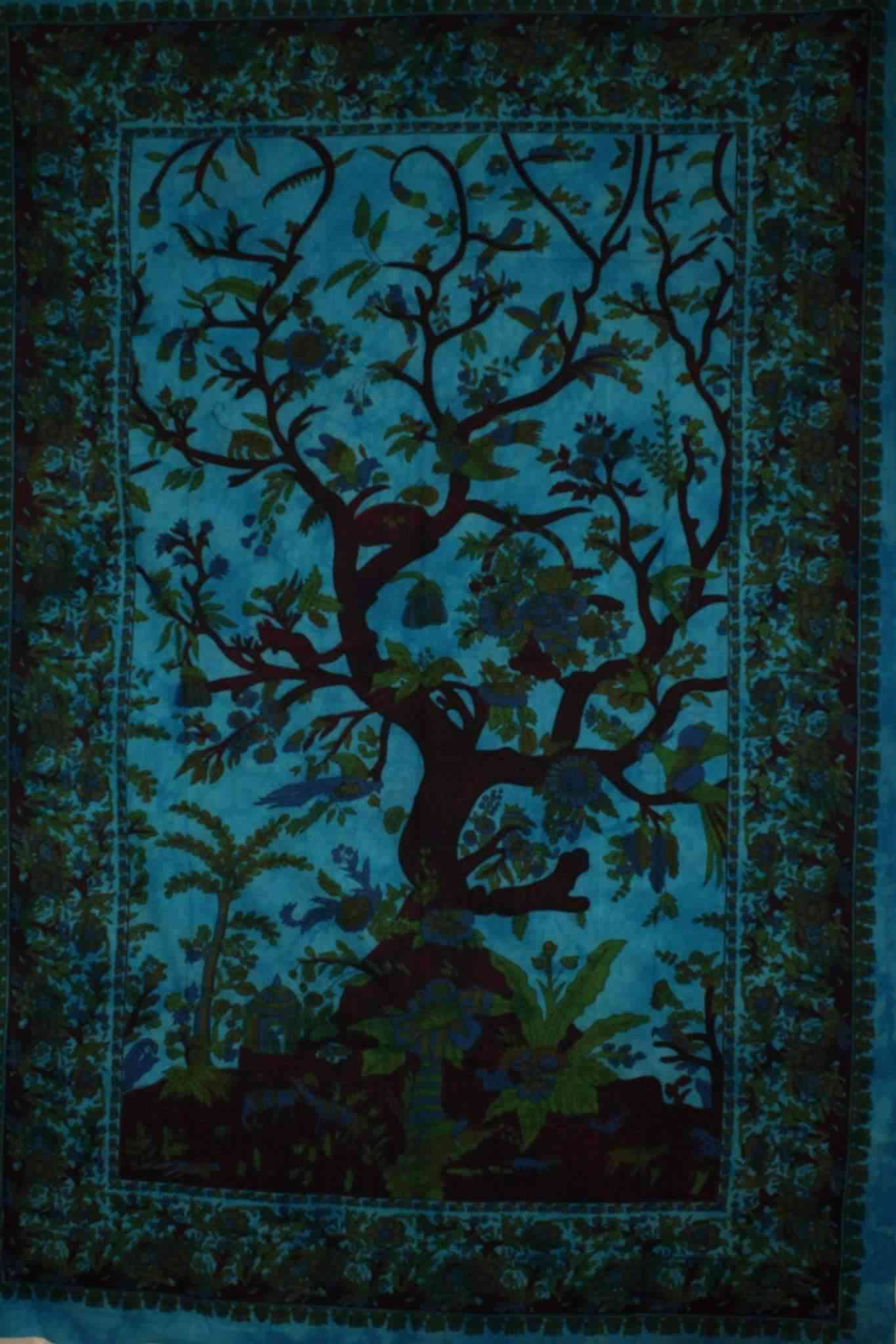 Havenly Tree Of Life With Floral Design And Birds Tapestry