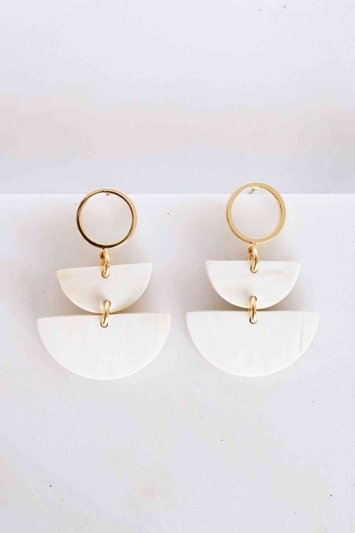 Buffalo Horn Post Dangle Earrings