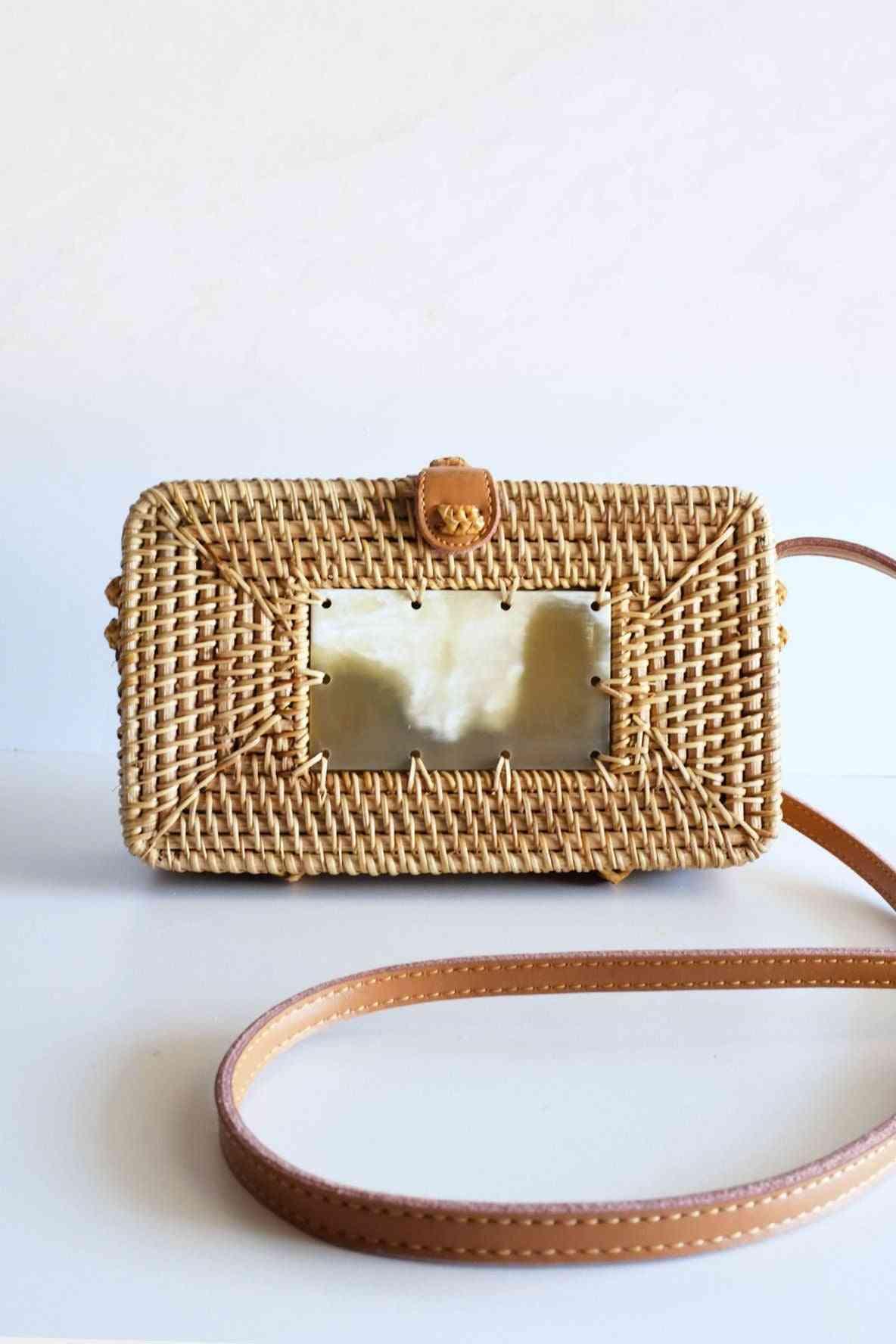 Buffalo Horn Centerpiece Rectangular Wicker Rattan Handbag