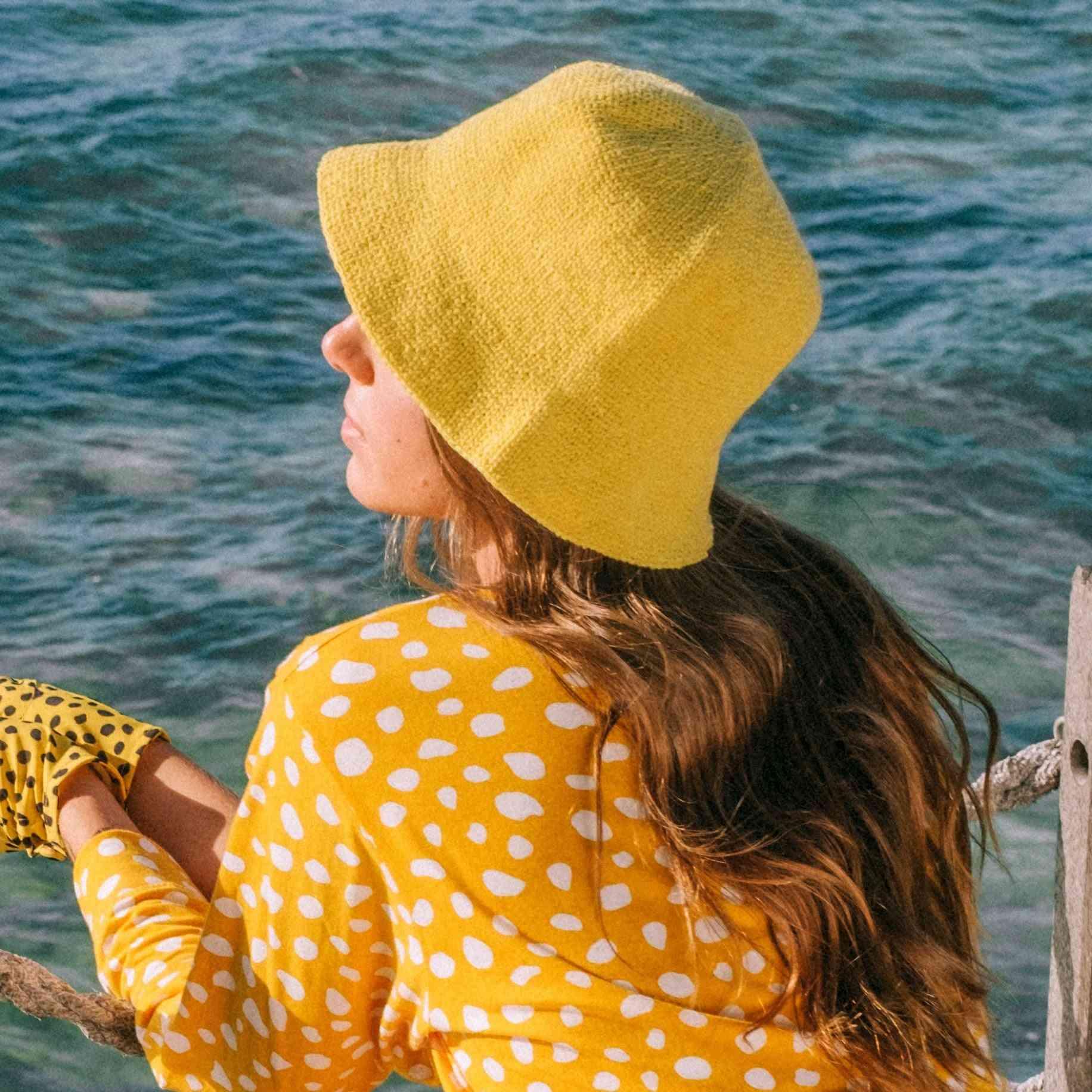 Soft Crochet Yellow Bucket Hat