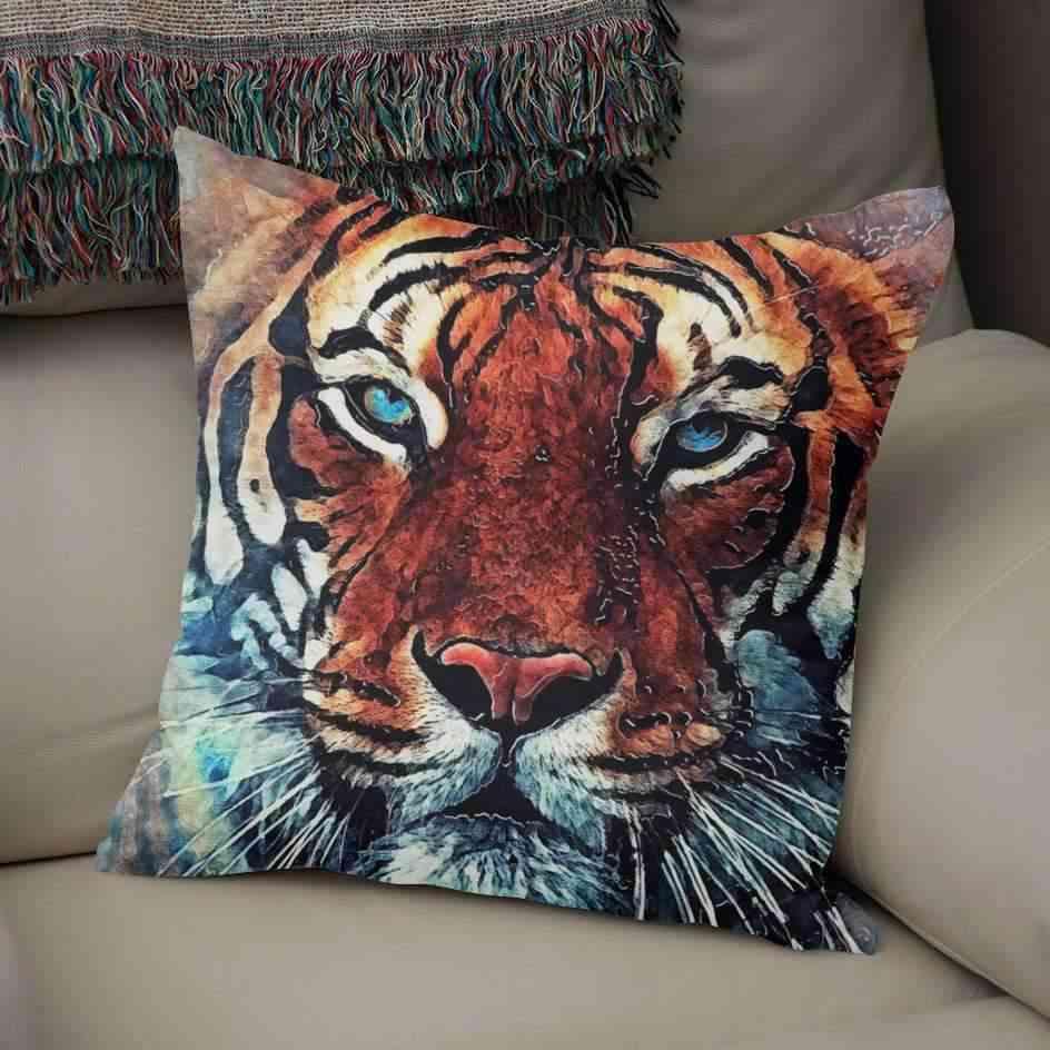 Tiger Face Printed Pillow